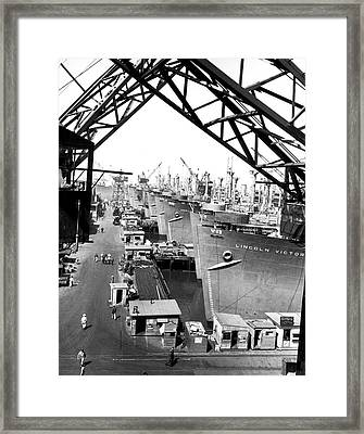 Line Of Victory Ships Framed Print by California Shipbuilding Corporat