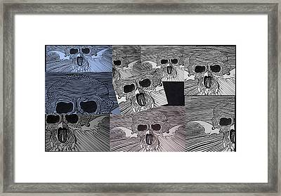 Line Skulls Collage Framed Print