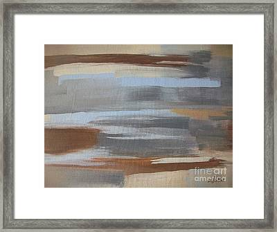 Linear Browns And Blues Framed Print by Marsha Heiken