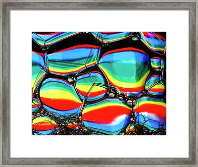 Framed Print featuring the photograph Lined Bubbles by Jean Noren
