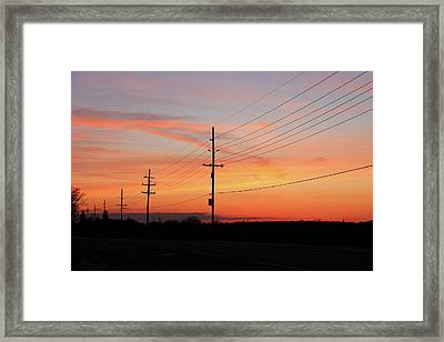 Lineman's Sunset Framed Print by Rachel Cohen