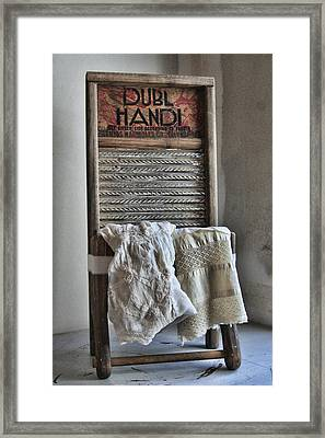 Linen And Lace Framed Print by Marcie  Adams