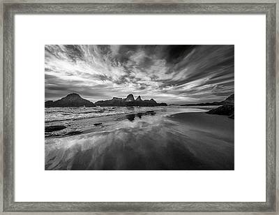 Lines In The Sand At Seal Rock Framed Print