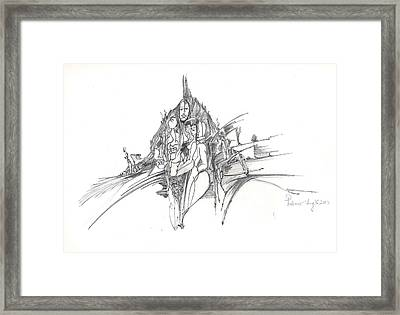 Framed Print featuring the drawing Lines Of Integration by Padamvir Singh