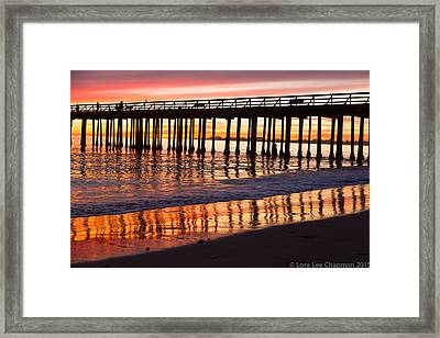 Sunset Seacliff Shadows Framed Print by Lora Lee Chapman