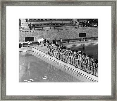 Lineup Of Ncaa Men Swimmers Framed Print