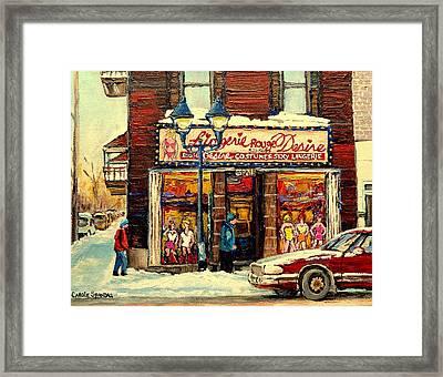 Lingerie Rouge Desire Framed Print by Carole Spandau
