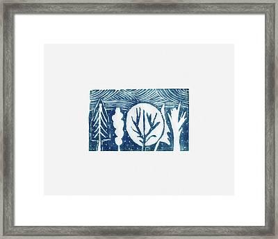 Linocut Trees Framed Print