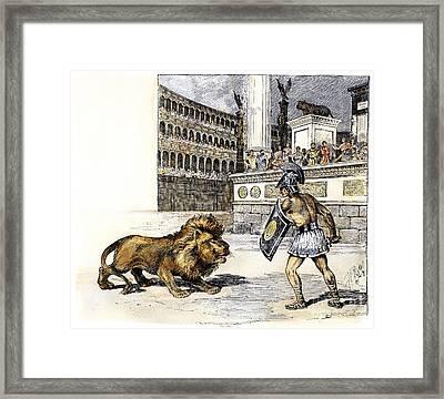 Lion & Gladiator Framed Print