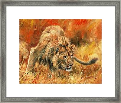 Framed Print featuring the painting Lion Alert by David Stribbling