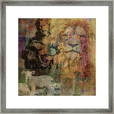 Lion And Lamb Collage Framed Print