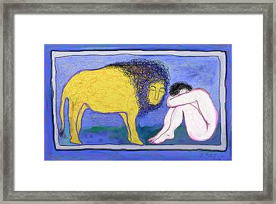 Lion And Man Framed Print