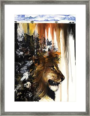 Lion And The Antelope Framed Print