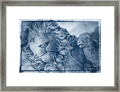 Lion And The Lamb - Monochrome Blue Framed Print