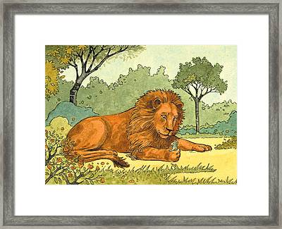 Lion And The Mouse Framed Print by Valer Ian