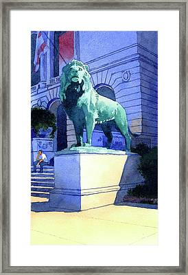Lion At The Art Institue Of Chicago Framed Print