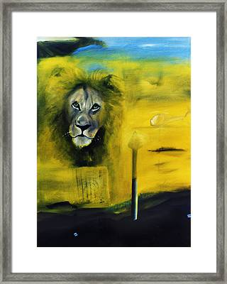 Lion At The Council Framed Print by Noga Ami-rav