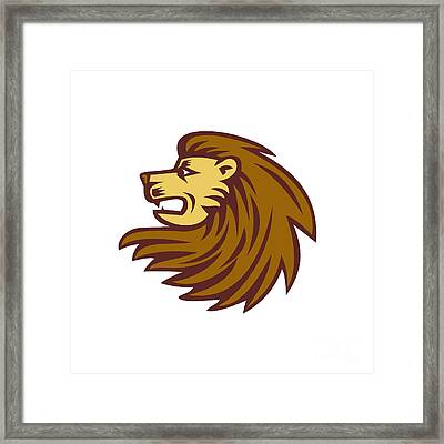 Lion Big Cat Head Woodcut Framed Print