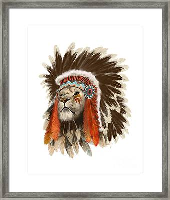 Lion Chief Framed Print by Sassan Filsoof