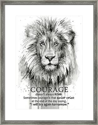 Lion Courage Motivational Quote Watercolor Animal Framed Print