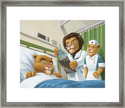 Lion Cub In Hospital Framed Print by Martin Davey
