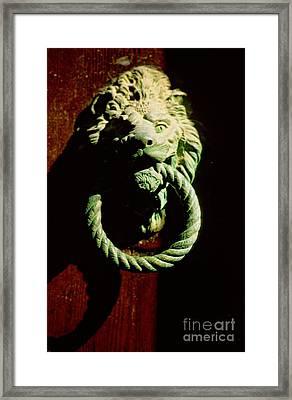 Lion Door Knocker In Venice Framed Print by Michael Henderson
