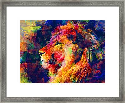 Lion Framed Print by Elena Kosvincheva