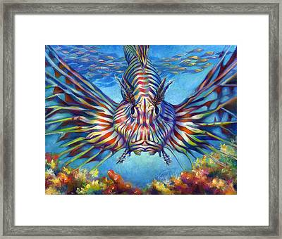 Lion Fish Framed Print by Nancy Tilles