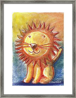 Lion For Children Pastel Chalk Drawing Framed Print by Frank Ramspott