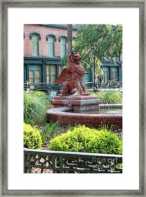 Lion Fountain In Savannah Framed Print by Carol Groenen