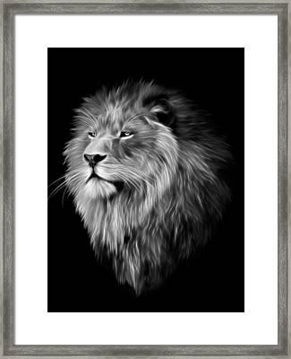 Lion Fractal  Framed Print by Julie L Hoddinott