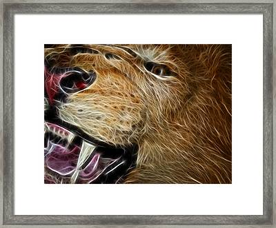 Lion Fractal Framed Print