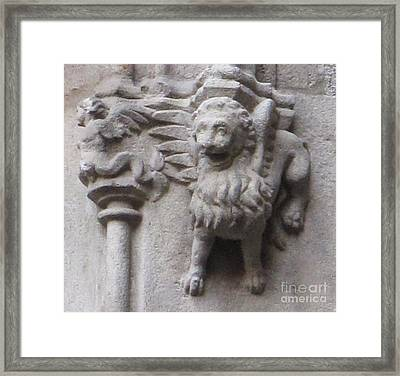 Lion Gargoyle Barcelona Renaissance Framed Print by Cimorene Photography