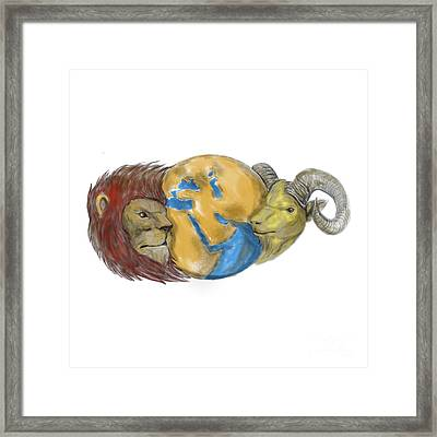 Lion Goat Head Middle East Globe Tattoo Framed Print by Aloysius Patrimonio