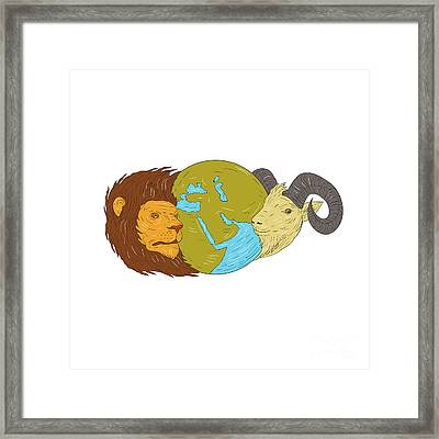 Lion Goat Head Middle East Map Globe Drawing Framed Print by Aloysius Patrimonio
