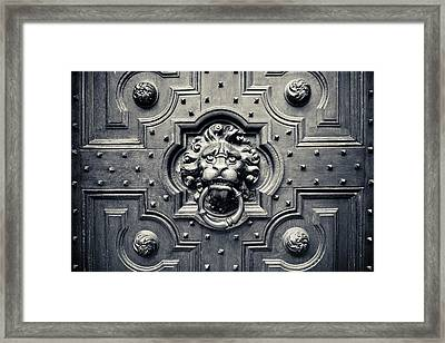 Lion Head Door Knocker Framed Print by Adam Romanowicz