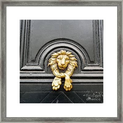 Lion Head Door Knocker Framed Print by Ivy Ho