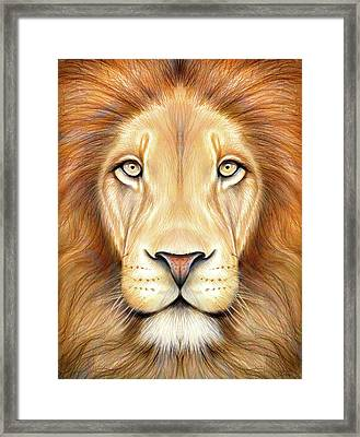 Lion Head In Color Framed Print