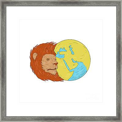 Lion Head Middle East Asia Map Globe Drawing Framed Print by Aloysius Patrimonio