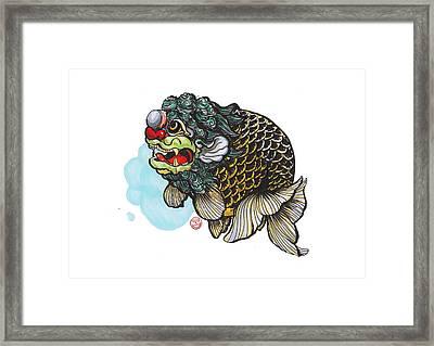 Lion Head Ranchu Framed Print by Shih Chang Yang