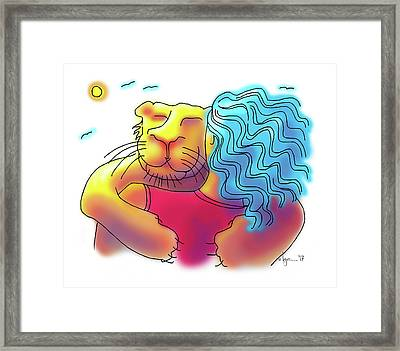 Lion Hug Framed Print