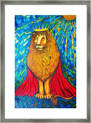 Framed Print featuring the painting Lion-king by Rae Chichilnitsky