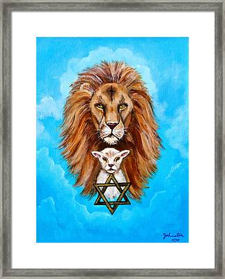 Lion Lies Down With A Lamb Framed Print by Bob and Nadine Johnston