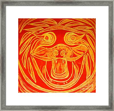 Lion Mask Framed Print by Jane Gatward