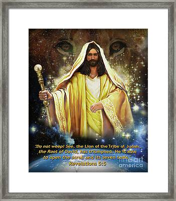 Lion Of The Tribe Judah Framed Print by Todd L Thomas