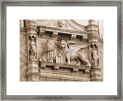 Lion Of Venice With The Doge Framed Print by Donna Corless