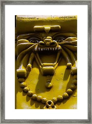 Lion Pillar Framed Print by Garry Gay