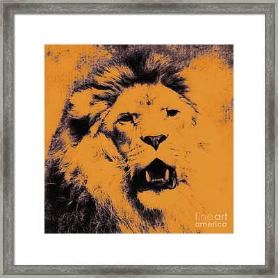 Lion Pop Art Framed Print by Angela Doelling AD DESIGN Photo and PhotoArt