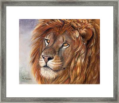 Lion Portrait Framed Print by Svetlana Ledneva-Schukina