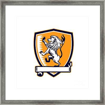 Lion Prancing Crest Woodcut Framed Print by Aloysius Patrimonio